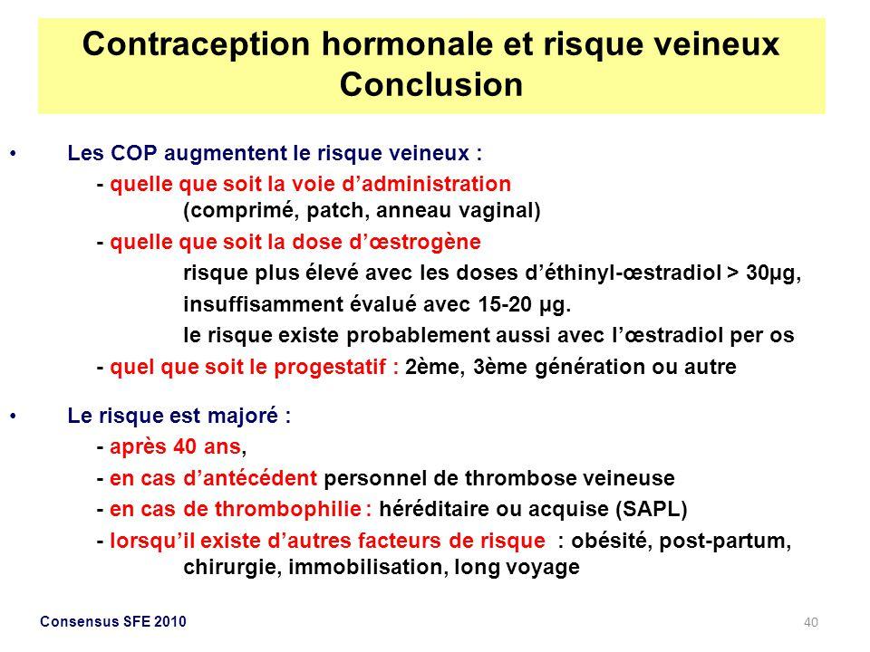 40 Les COP augmentent le risque veineux : - quelle que soit la voie dadministration (comprimé, patch, anneau vaginal) - quelle que soit la dose dœstro