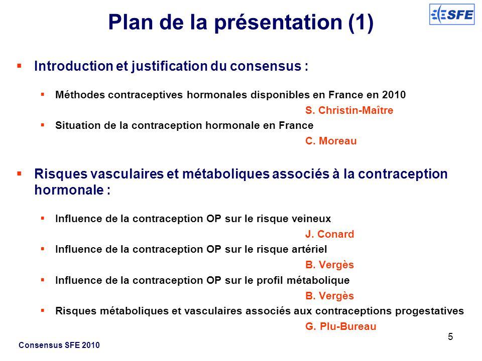 Consensus SFE 2010 Du profil de risque métabolique et/ou vasculaire au choix de la contraception hormonale Risque thrombo-embolique et artériel A.