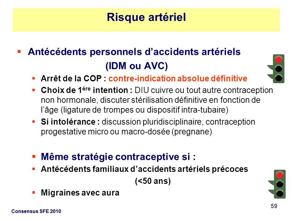 59 Consensus SFE 2010 Antécédents personnels daccidents artériels (IDM ou AVC) Arrêt de la COP : contre-indication absolue définitive Choix de 1 ère i