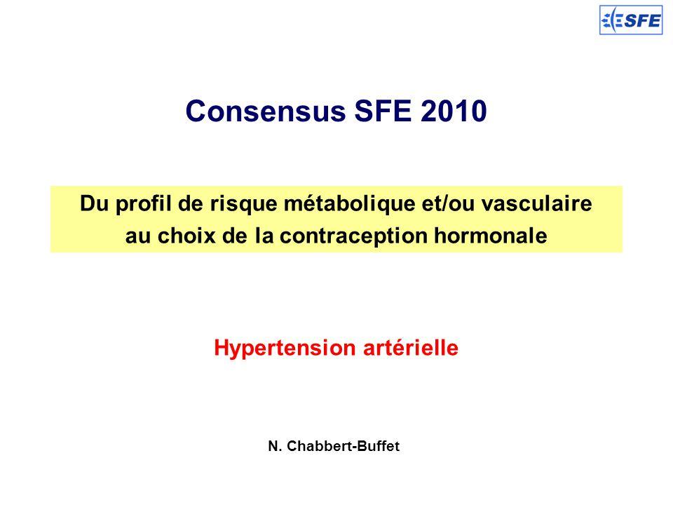 Consensus SFE 2010 Du profil de risque métabolique et/ou vasculaire au choix de la contraception hormonale Hypertension artérielle N. Chabbert-Buffet