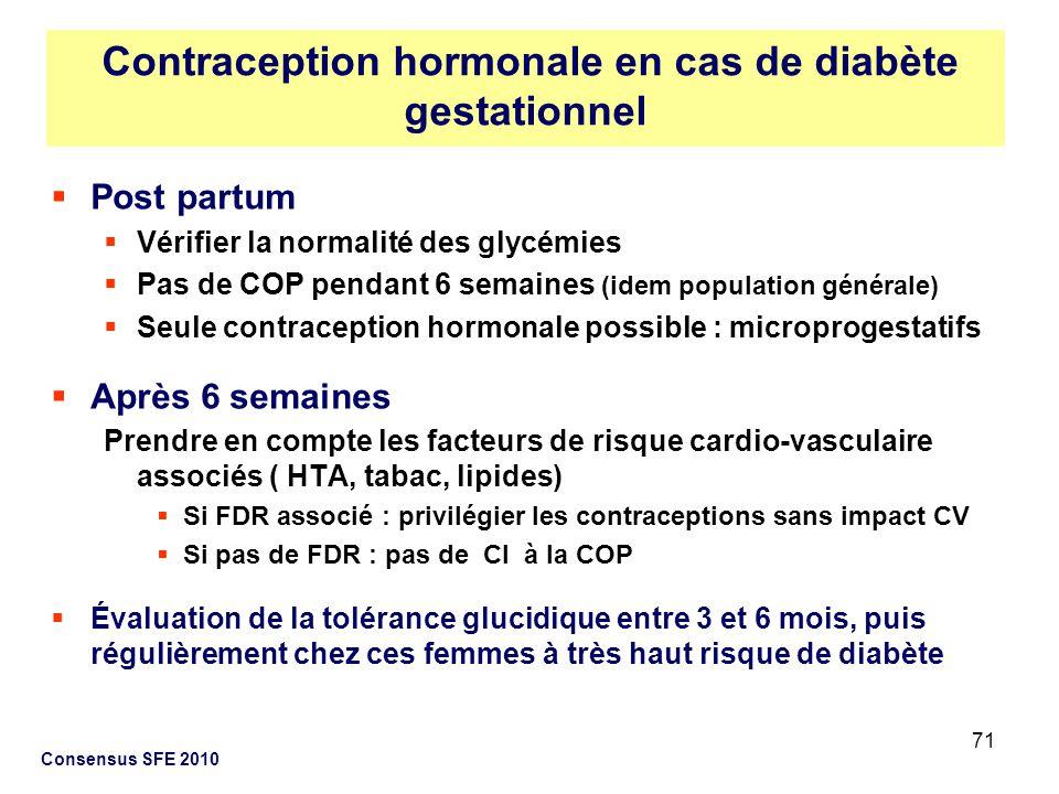 71 Post partum Vérifier la normalité des glycémies Pas de COP pendant 6 semaines (idem population générale) Seule contraception hormonale possible : m