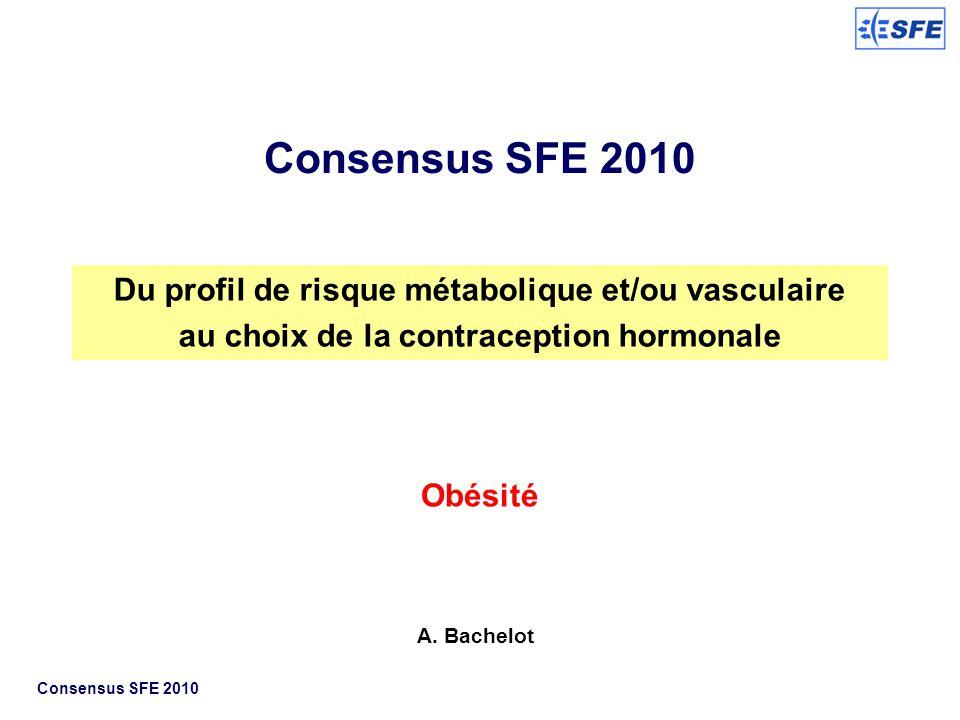 Du profil de risque métabolique et/ou vasculaire au choix de la contraception hormonale Obésité A. Bachelot Consensus SFE 2010