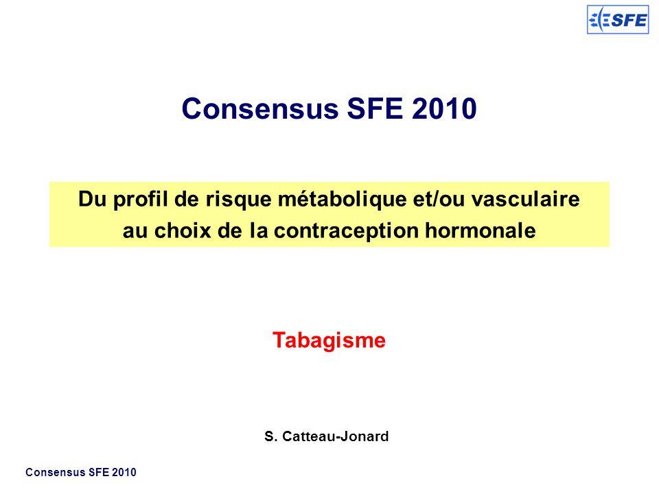 Consensus SFE 2010 Du profil de risque métabolique et/ou vasculaire au choix de la contraception hormonale Tabagisme S. Catteau-Jonard Consensus SFE 2