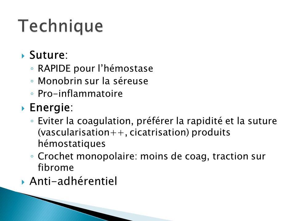 Suture: RAPIDE pour lhémostase Monobrin sur la séreuse Pro-inflammatoire Energie: Eviter la coagulation, préférer la rapidité et la suture (vascularis