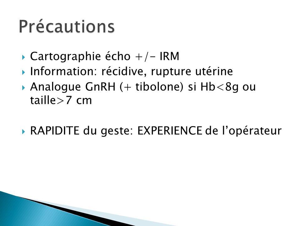 Cartographie écho +/- IRM Information: récidive, rupture utérine Analogue GnRH (+ tibolone) si Hb 7 cm RAPIDITE du geste: EXPERIENCE de lopérateur