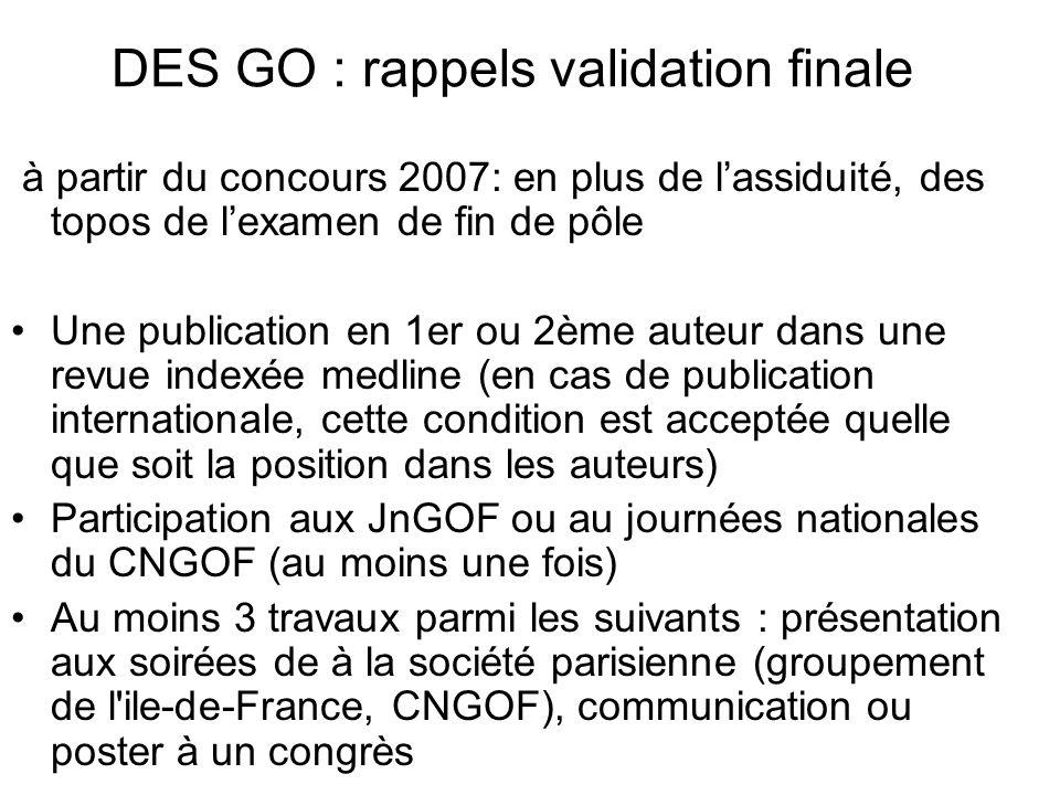 DES GO : rappels validation finale à partir du concours 2007: en plus de lassiduité, des topos de lexamen de fin de pôle Une publication en 1er ou 2èm