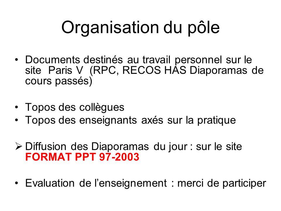 Organisation du pôle Documents destinés au travail personnel sur le site Paris V (RPC, RECOS HAS Diaporamas de cours passés) Topos des collègues Topos des enseignants axés sur la pratique Diffusion des Diaporamas du jour : sur le site FORMAT PPT 97-2003 Evaluation de lenseignement : merci de participer