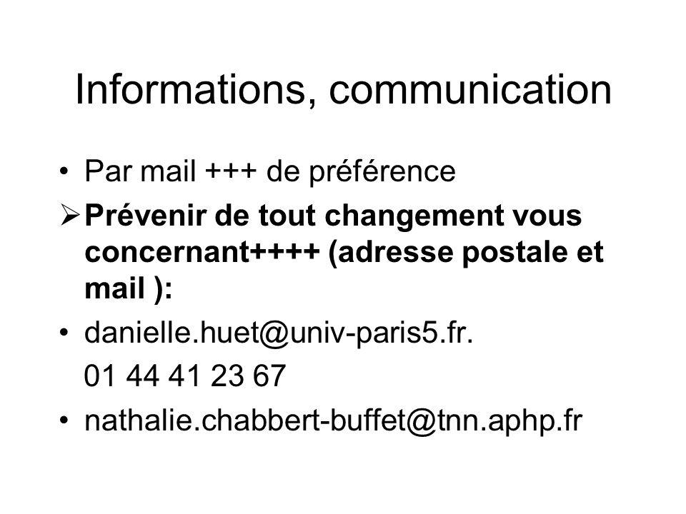 Informations, communication Par mail +++ de préférence Prévenir de tout changement vous concernant++++ (adresse postale et mail ): danielle.huet@univ-paris5.fr.