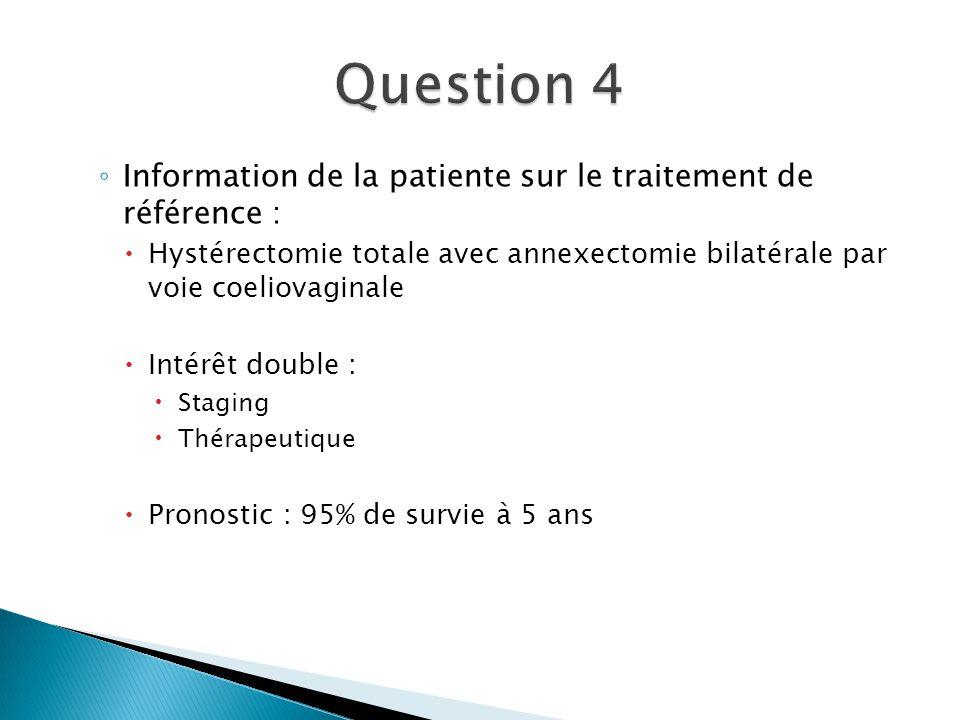 Information de la patiente sur le traitement de référence : Hystérectomie totale avec annexectomie bilatérale par voie coeliovaginale Intérêt double :