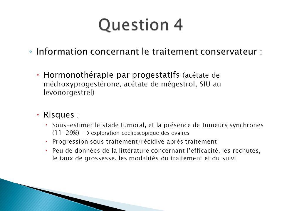 Information concernant le traitement conservateur : Hormonothérapie par progestatifs (acétate de médroxyprogestérone, acétate de mégestrol, SIU au lev