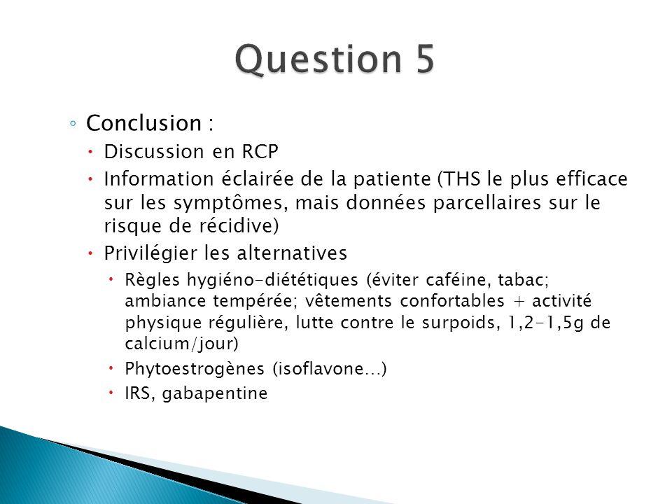 Conclusion : Discussion en RCP Information éclairée de la patiente (THS le plus efficace sur les symptômes, mais données parcellaires sur le risque de