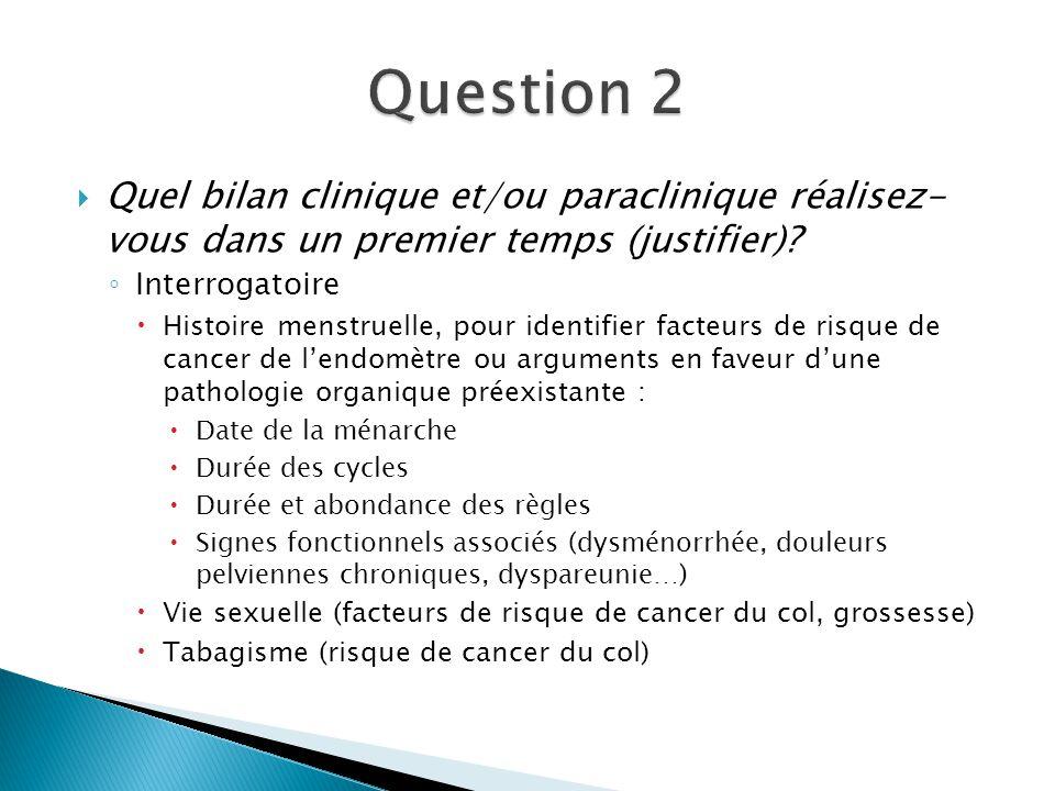 Quel bilan clinique et/ou paraclinique réalisez- vous dans un premier temps (justifier)? Interrogatoire Histoire menstruelle, pour identifier facteurs