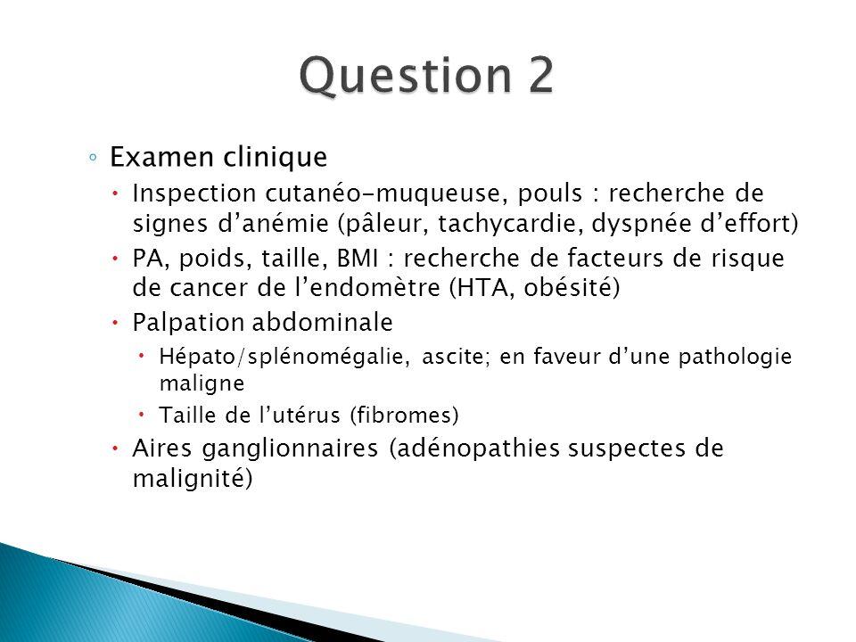 Examen clinique Inspection cutanéo-muqueuse, pouls : recherche de signes danémie (pâleur, tachycardie, dyspnée deffort) PA, poids, taille, BMI : reche