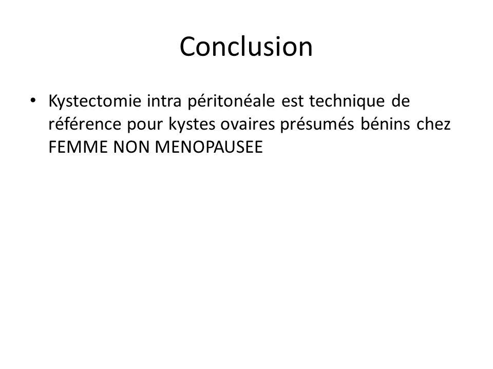 Conclusion Kystectomie intra péritonéale est technique de référence pour kystes ovaires présumés bénins chez FEMME NON MENOPAUSEE