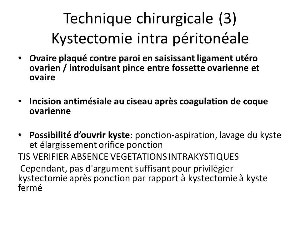 Technique chirurgicale (3) Kystectomie intra péritonéale Ovaire plaqué contre paroi en saisissant ligament utéro ovarien / introduisant pince entre fo