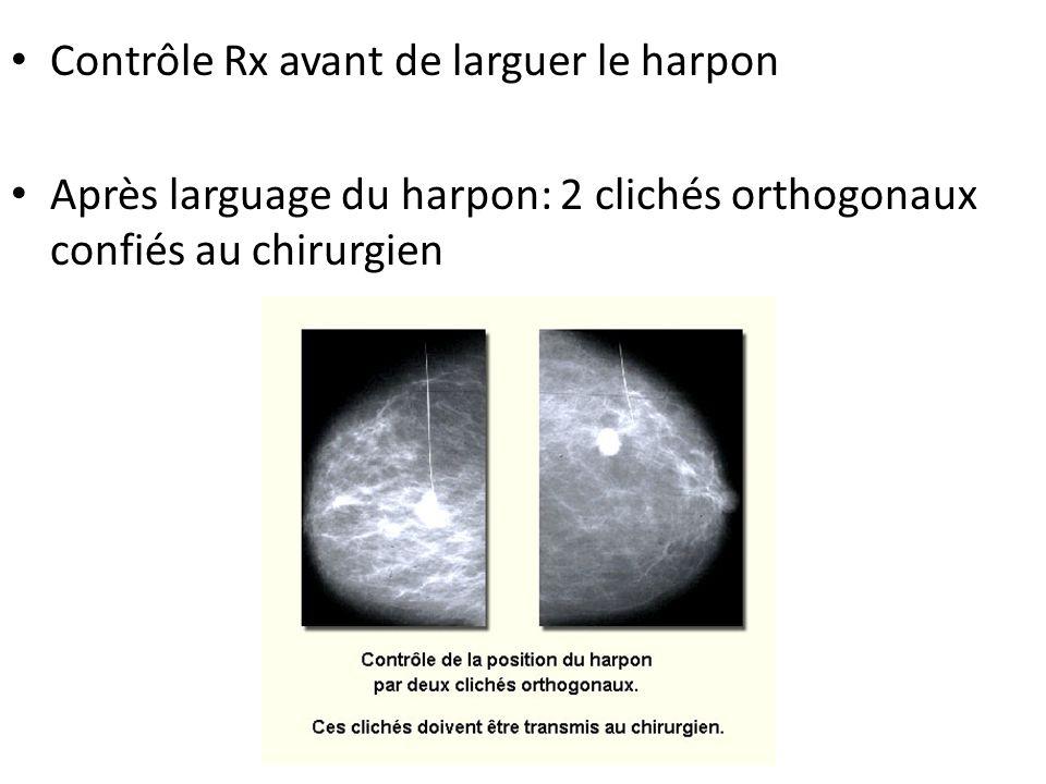 Contrôle Rx avant de larguer le harpon Après larguage du harpon: 2 clichés orthogonaux confiés au chirurgien