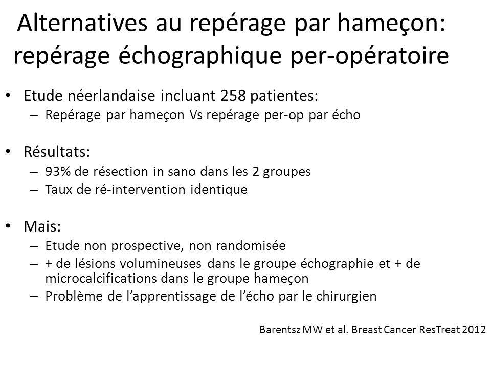 Alternatives au repérage par hameçon: repérage échographique per-opératoire Etude néerlandaise incluant 258 patientes: – Repérage par hameçon Vs repér