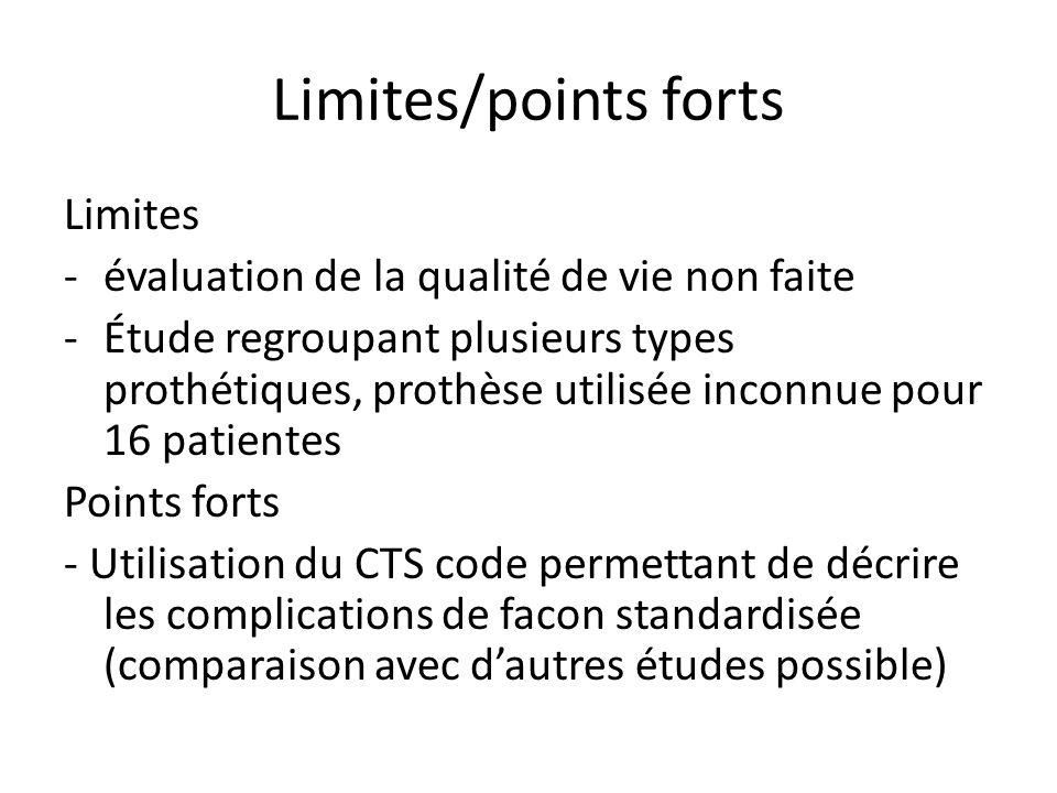 Limites/points forts Limites -évaluation de la qualité de vie non faite -Étude regroupant plusieurs types prothétiques, prothèse utilisée inconnue pou