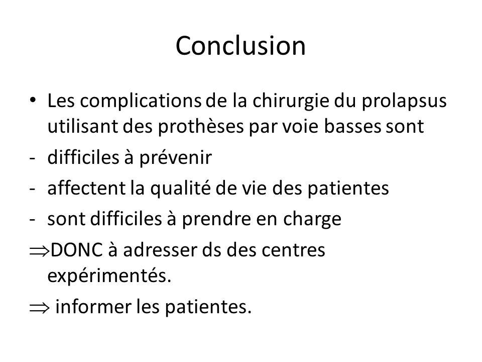 Conclusion Les complications de la chirurgie du prolapsus utilisant des prothèses par voie basses sont -difficiles à prévenir -affectent la qualité de