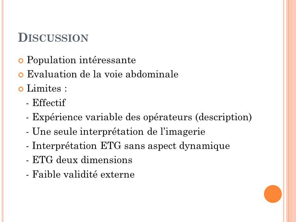 D ISCUSSION Population intéressante Evaluation de la voie abdominale Limites : - Effectif - Expérience variable des opérateurs (description) - Une seule interprétation de limagerie - Interprétation ETG sans aspect dynamique - ETG deux dimensions - Faible validité externe