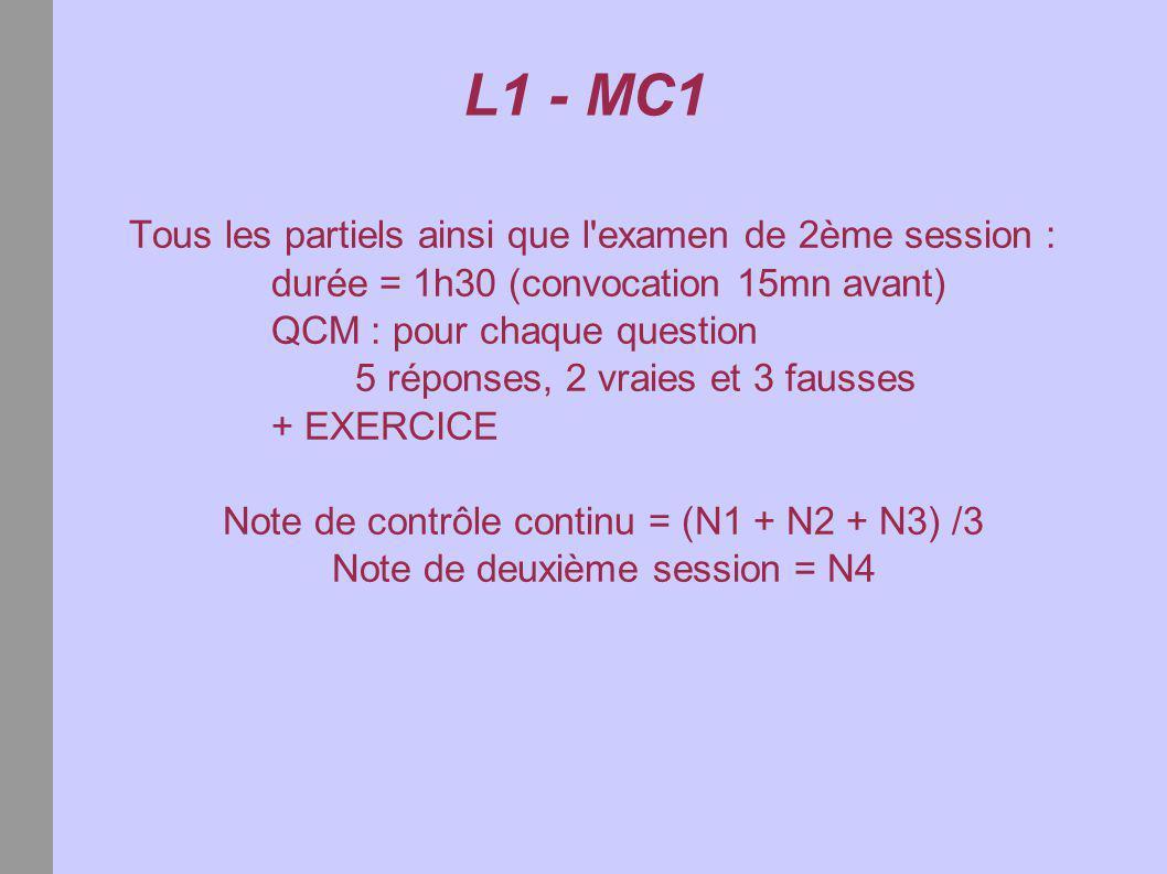 L1 - MC1 Notes de cours et archives d examens : http://www.math-info.univ-paris5.fr/ sélectionner « ressources pédagogiques » puis « Licence » puis « Mathématiques et calcul 1 » Un poly est distribué : aller au secrétariat du 5ème étage