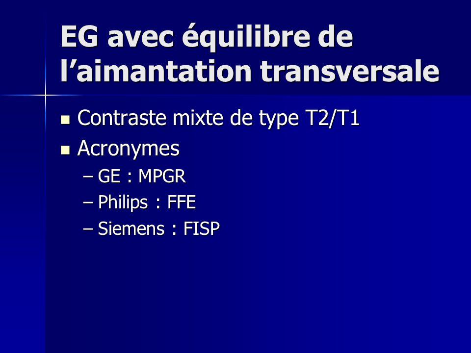 EG avec équilibre de laimantation transversale Contraste mixte de type T2/T1 Contraste mixte de type T2/T1 Acronymes Acronymes –GE : MPGR –Philips : F