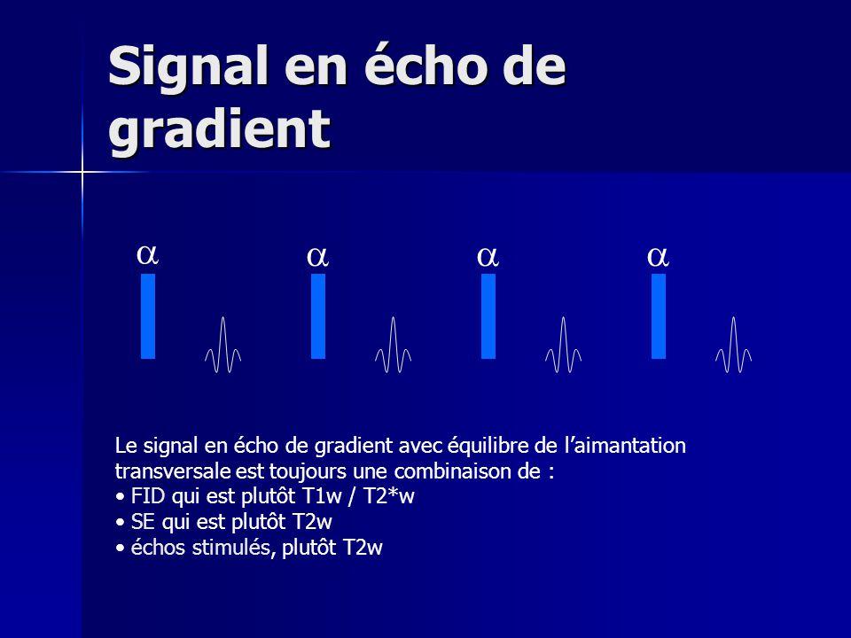 Signal en écho de gradient Le signal en écho de gradient avec équilibre de laimantation transversale est toujours une combinaison de : FID qui est plu