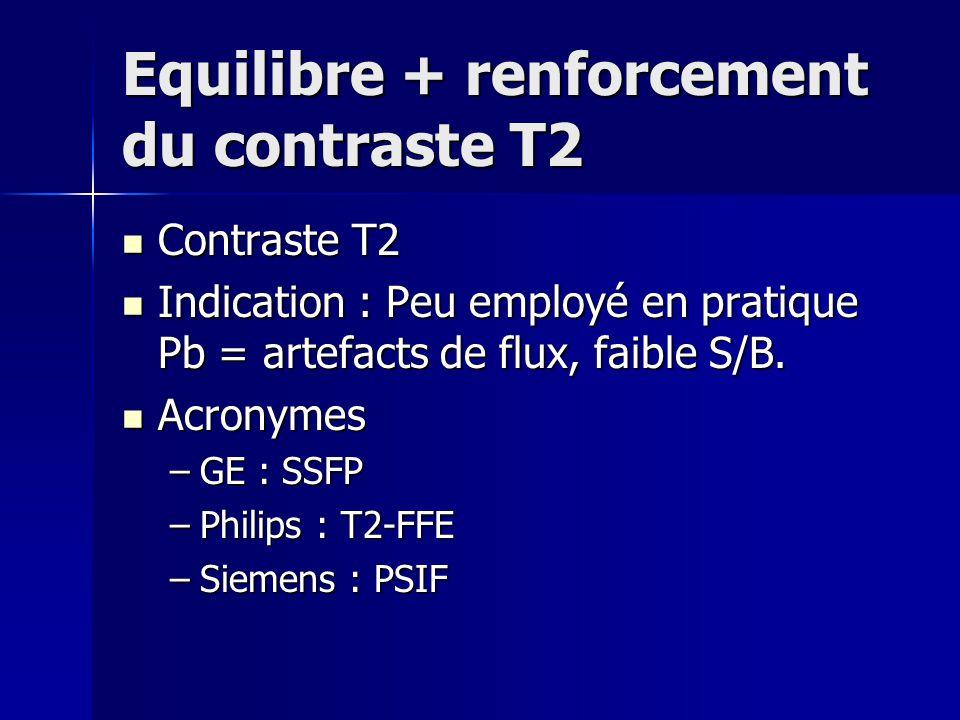 Equilibre + renforcement du contraste T2 Contraste T2 Contraste T2 Indication : Peu employé en pratique Pb = artefacts de flux, faible S/B. Indication