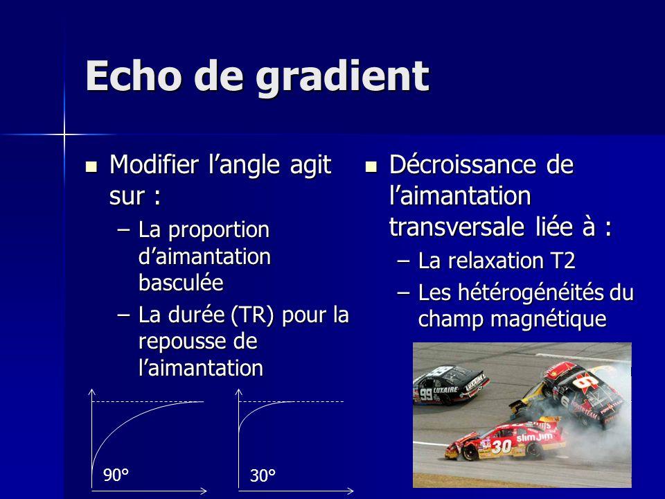 Echo de gradient Modifier langle agit sur : Modifier langle agit sur : –La proportion daimantation basculée –La durée (TR) pour la repousse de laimant