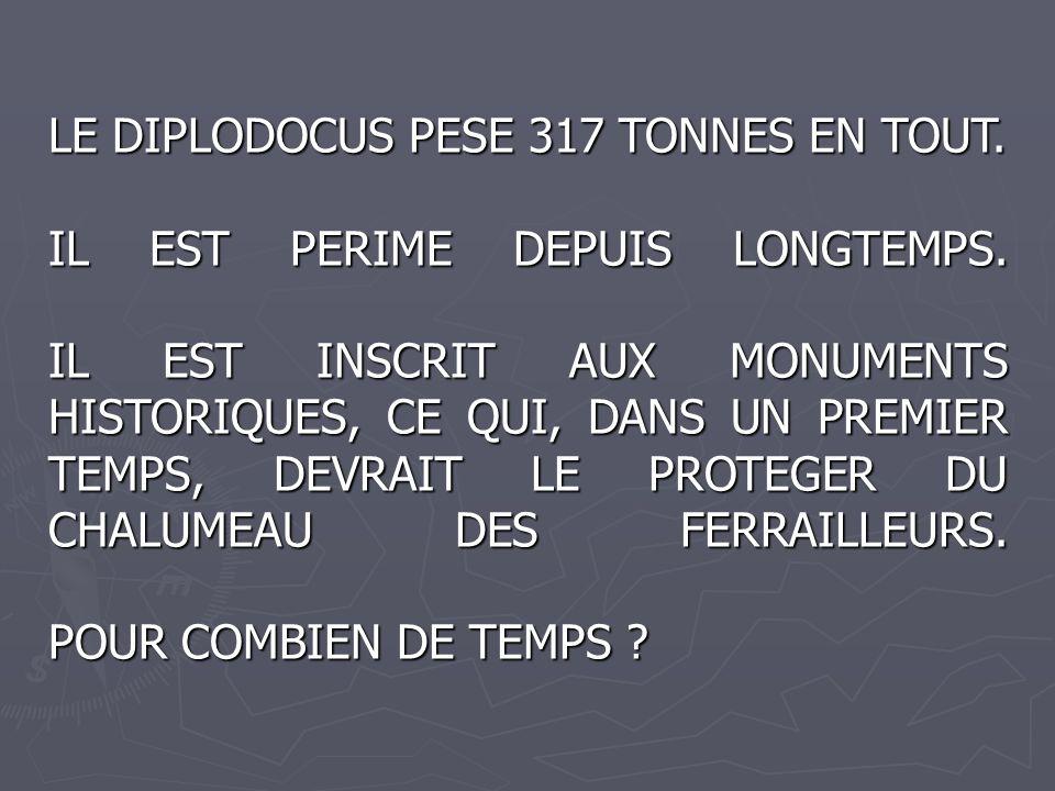 LE DIPLODOCUS PESE 317 TONNES EN TOUT. IL EST PERIME DEPUIS LONGTEMPS. IL EST INSCRIT AUX MONUMENTS HISTORIQUES, CE QUI, DANS UN PREMIER TEMPS, DEVRAI