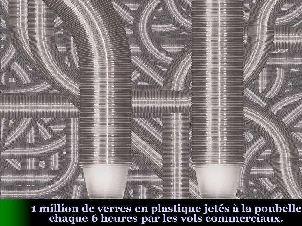 1 million de verres en plastique jetés à la poubelle chaque 6 heures par les vols commerciaux.