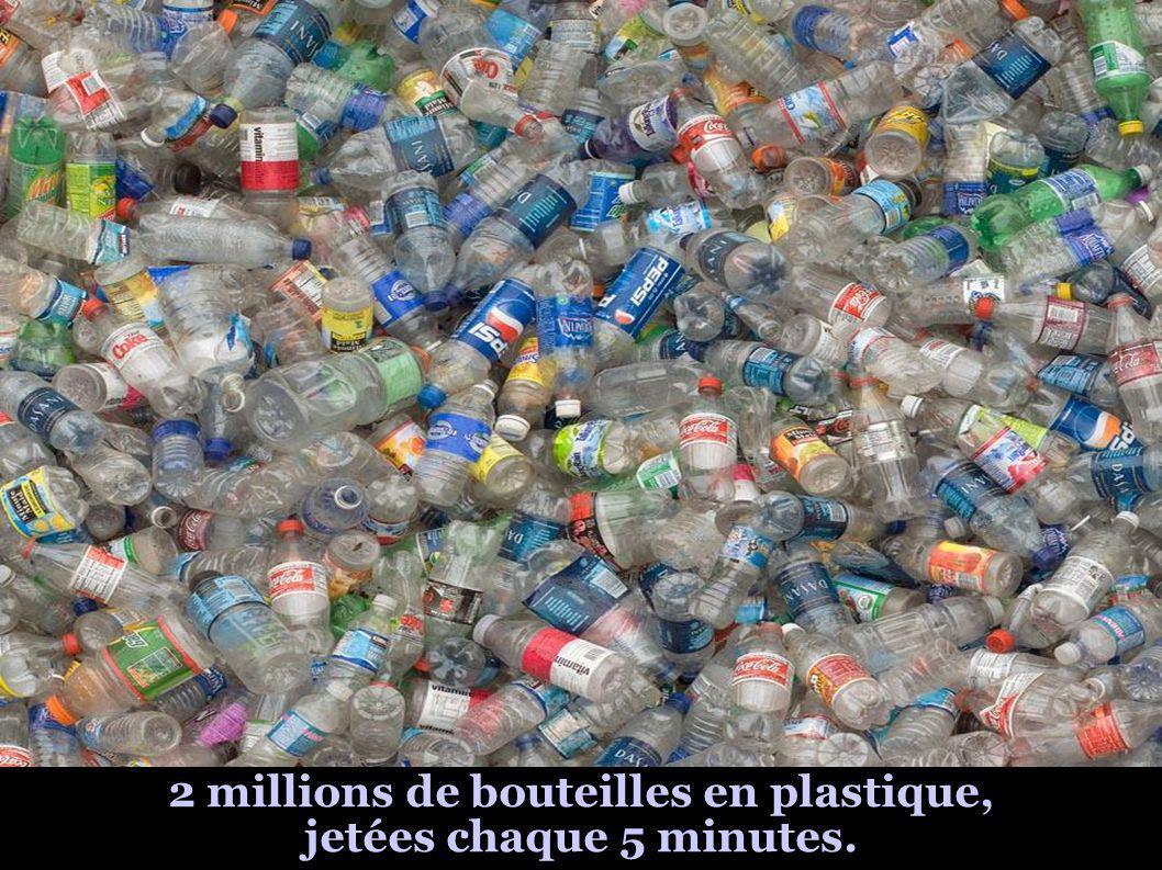 2 millions de bouteilles en plastique, jetées chaque 5 minutes.