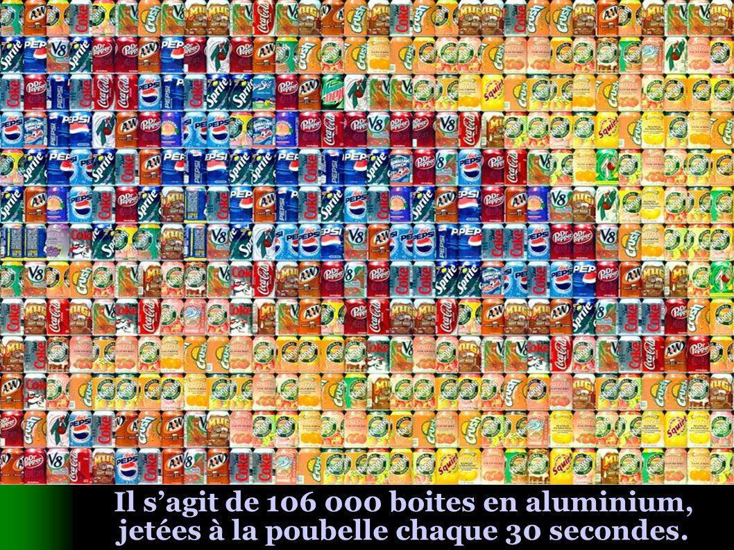 Il sagit de 106 000 boites en aluminium, jetées à la poubelle chaque 30 secondes.