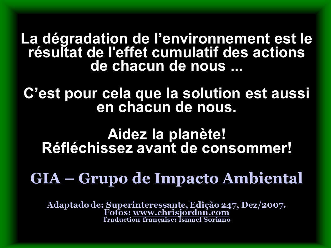 La dégradation de lenvironnement est le résultat de l'effet cumulatif des actions de chacun de nous... Cest pour cela que la solution est aussi en cha