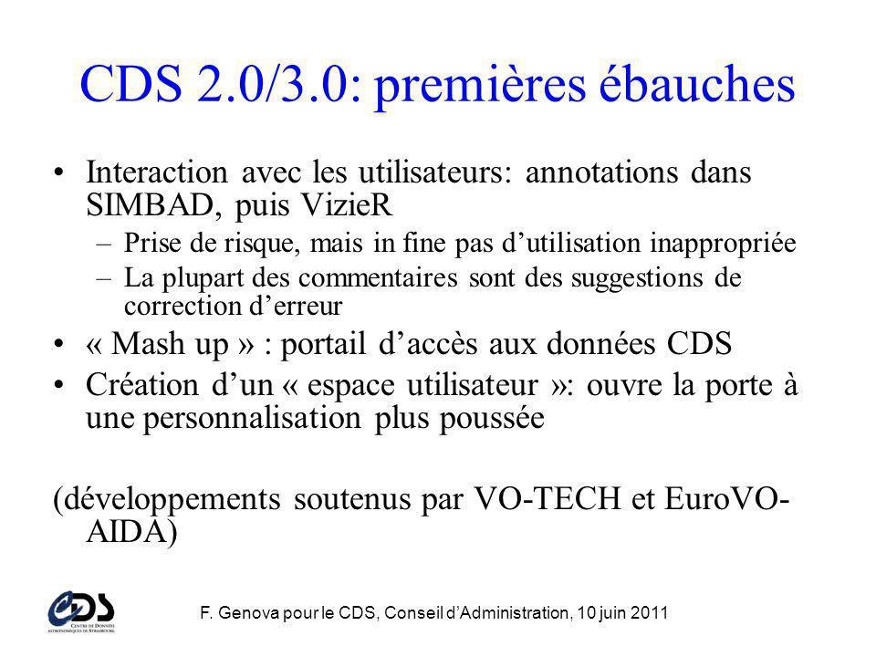 F. Genova pour le CDS, Conseil dAdministration, 10 juin 2011 CDS 2.0/3.0: premières ébauches Interaction avec les utilisateurs: annotations dans SIMBA