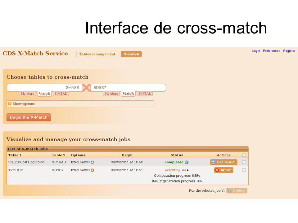 Interface de cross-match