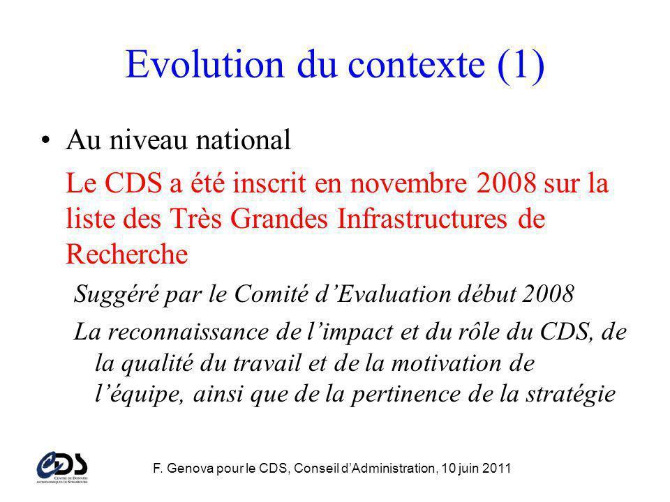 F. Genova pour le CDS, Conseil dAdministration, 10 juin 2011 Evolution du contexte (1) Au niveau national Le CDS a été inscrit en novembre 2008 sur la