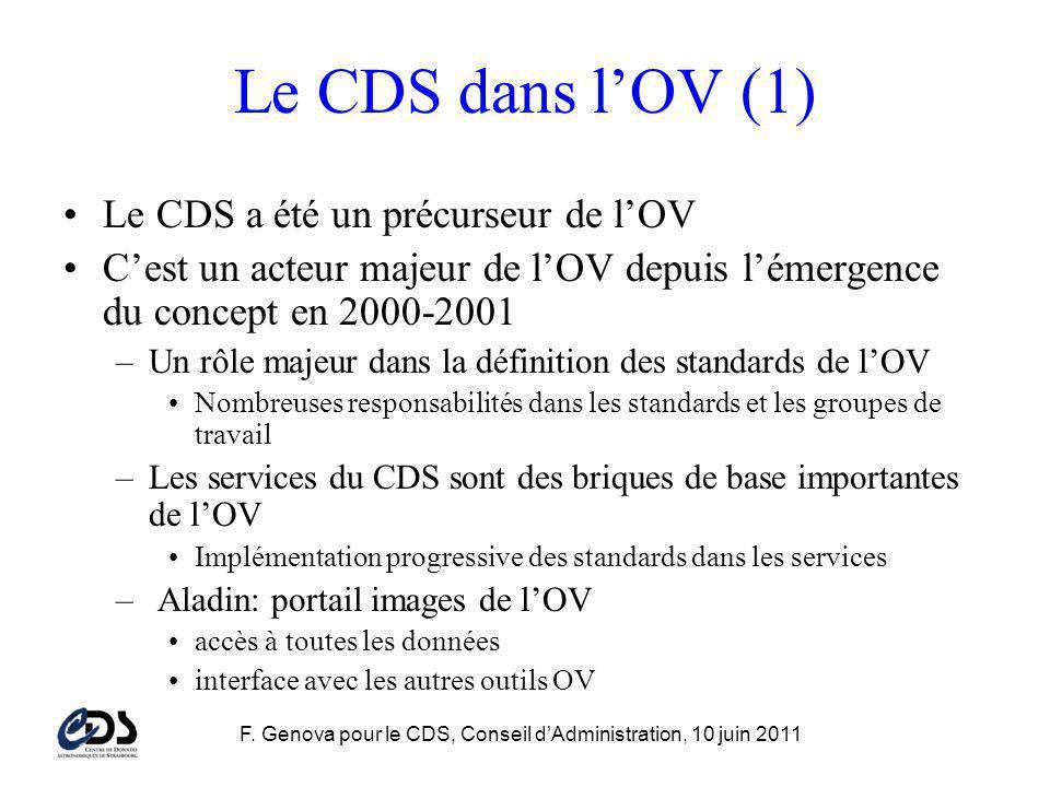 F. Genova pour le CDS, Conseil dAdministration, 10 juin 2011 Le CDS dans lOV (1) Le CDS a été un précurseur de lOV Cest un acteur majeur de lOV depuis