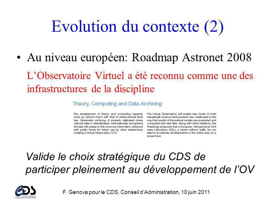 F. Genova pour le CDS, Conseil dAdministration, 10 juin 2011 Evolution du contexte (2) Au niveau européen: Roadmap Astronet 2008 LObservatoire Virtuel