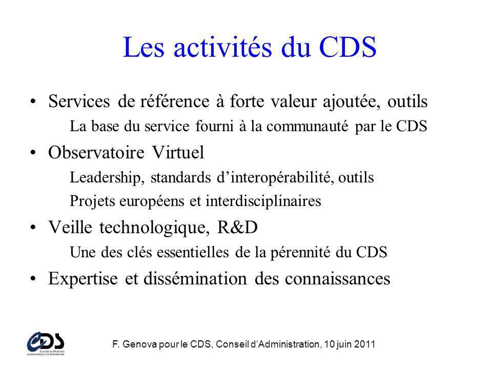 F. Genova pour le CDS, Conseil dAdministration, 10 juin 2011 Les activités du CDS Services de référence à forte valeur ajoutée, outils La base du serv