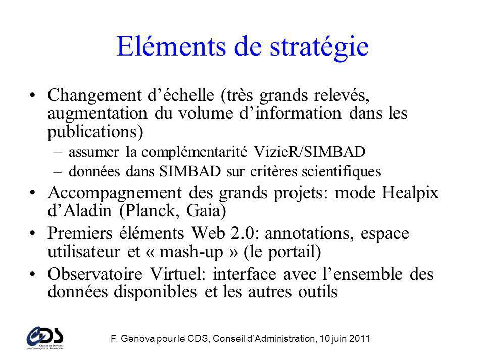 F. Genova pour le CDS, Conseil dAdministration, 10 juin 2011 Eléments de stratégie Changement déchelle (très grands relevés, augmentation du volume di