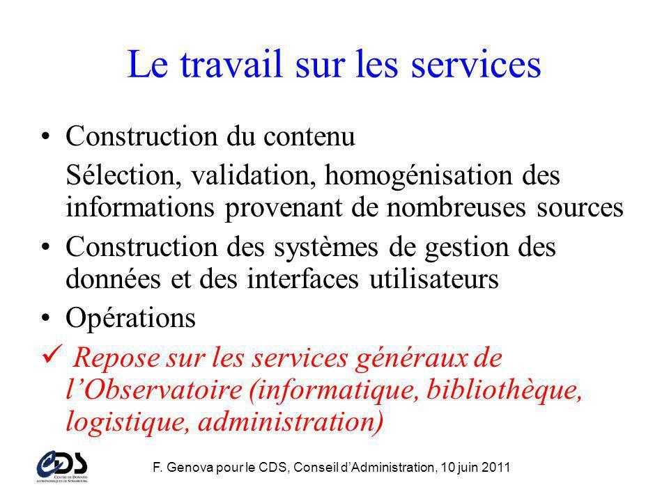 F. Genova pour le CDS, Conseil dAdministration, 10 juin 2011 Le travail sur les services Construction du contenu Sélection, validation, homogénisation
