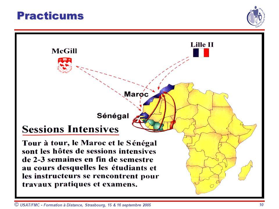 © USAT/FMC - Formation à Distance, Strasbourg, 15 & 16 septembre 2005 10 Practicums