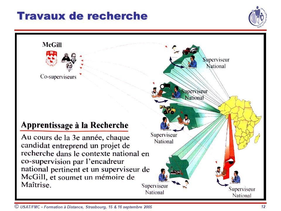 © USAT/FMC - Formation à Distance, Strasbourg, 15 & 16 septembre 2005 12 Travaux de recherche