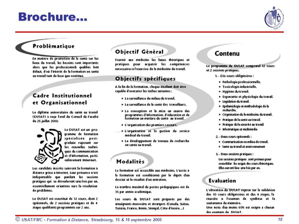 © USAT/FMC - Formation à Distance, Strasbourg, 15 & 16 septembre 2005 18 Brochure…