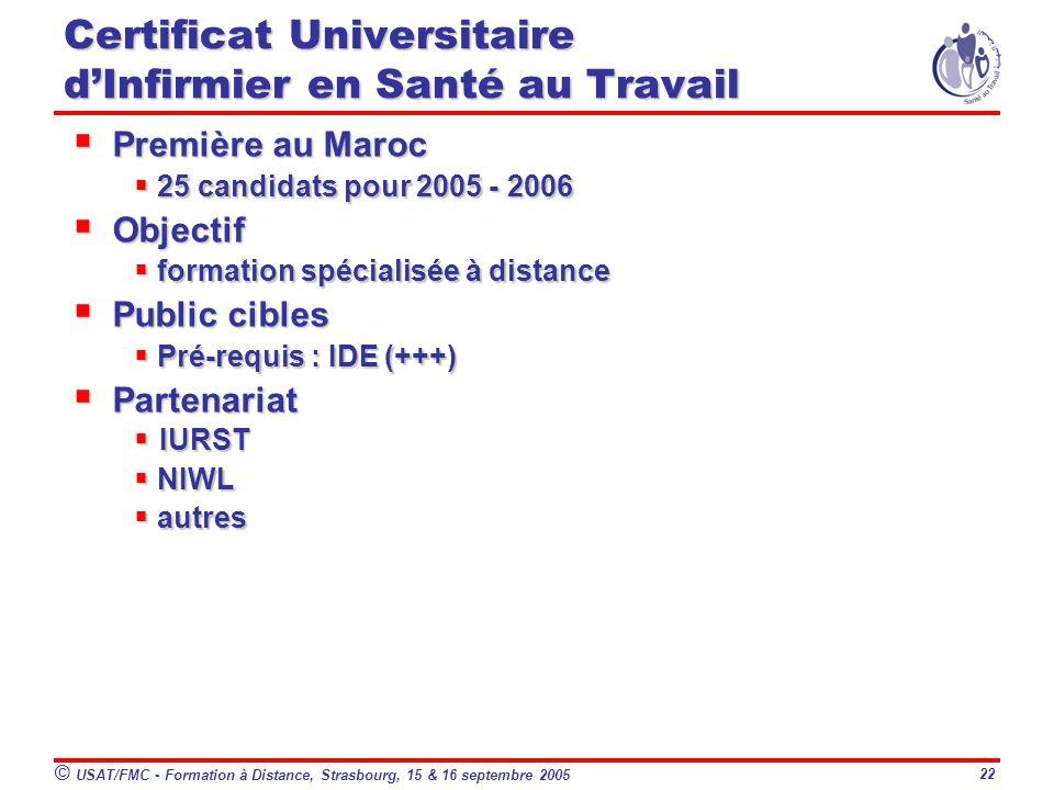 © USAT/FMC - Formation à Distance, Strasbourg, 15 & 16 septembre 2005 22 Première au Maroc Première au Maroc 25 candidats pour 2005 - 2006 25 candidats pour 2005 - 2006 Objectif Objectif formation spécialisée à distance formation spécialisée à distance Public cibles Public cibles Pré-requis : IDE (+++) Pré-requis : IDE (+++) Partenariat Partenariat IURST IURST NIWL NIWL autres autres Certificat Universitaire dInfirmier en Santé au Travail