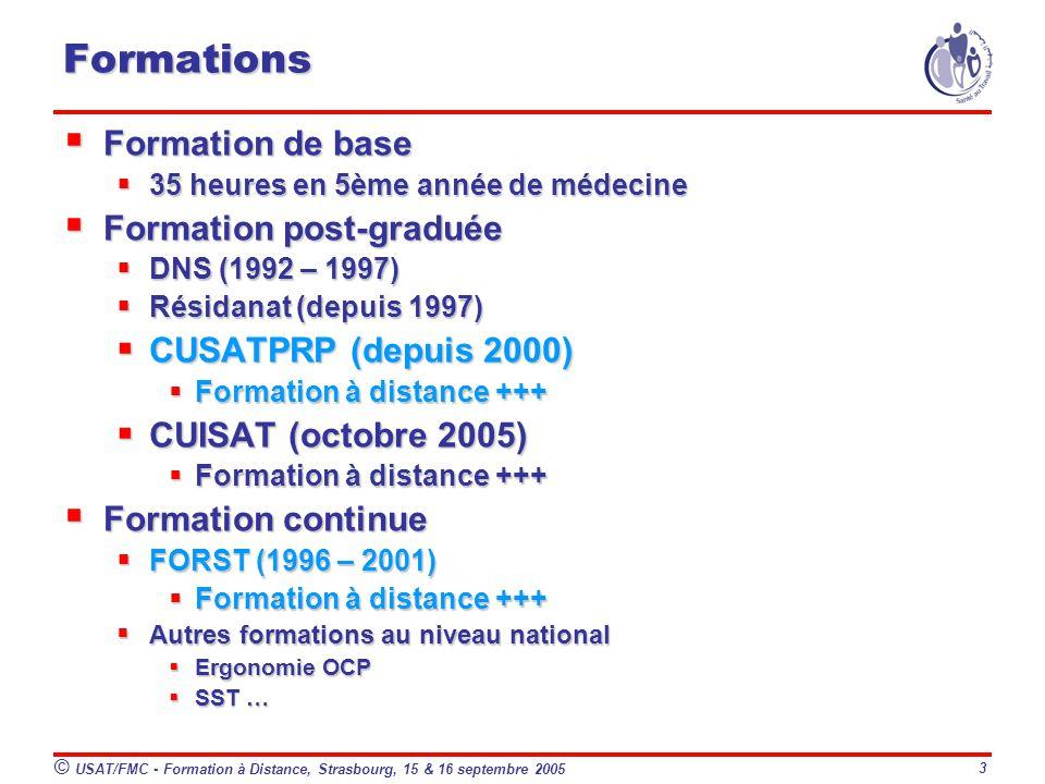 © USAT/FMC - Formation à Distance, Strasbourg, 15 & 16 septembre 2005 3 Formations Formation de base Formation de base 35 heures en 5ème année de médecine 35 heures en 5ème année de médecine Formation post-graduée Formation post-graduée DNS (1992 – 1997) DNS (1992 – 1997) Résidanat (depuis 1997) Résidanat (depuis 1997) CUSATPRP (depuis 2000) CUSATPRP (depuis 2000) Formation à distance +++ Formation à distance +++ CUISAT (octobre 2005) CUISAT (octobre 2005) Formation à distance +++ Formation à distance +++ Formation continue Formation continue FORST (1996 – 2001) FORST (1996 – 2001) Formation à distance +++ Formation à distance +++ Autres formations au niveau national Autres formations au niveau national Ergonomie OCP Ergonomie OCP SST … SST …