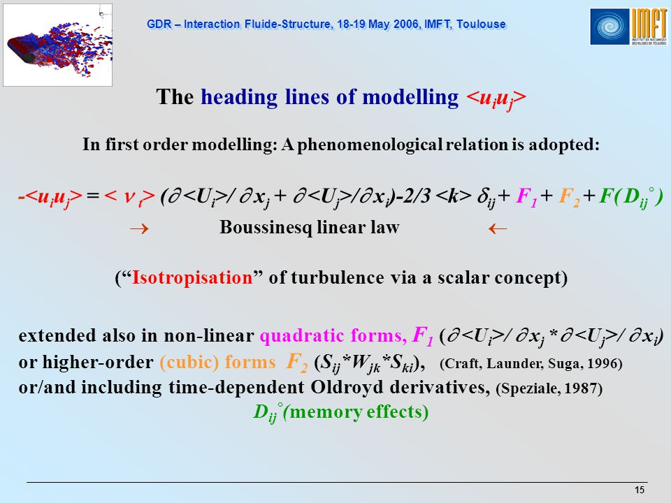 GDR – Interaction Fluide-Structure, 18-19 May 2006, IMFT, Toulouse 15 The heading lines of modelling In first order modelling: A phenomenological rela