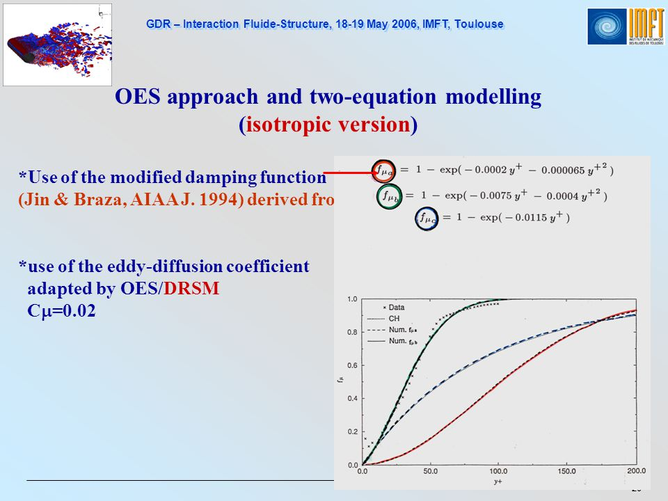 GDR – Interaction Fluide-Structure, 18-19 May 2006, IMFT, Toulouse 20 OES approach and two-equation modelling (isotropic version) *Use of the modified damping function (Jin & Braza, AIAA J.