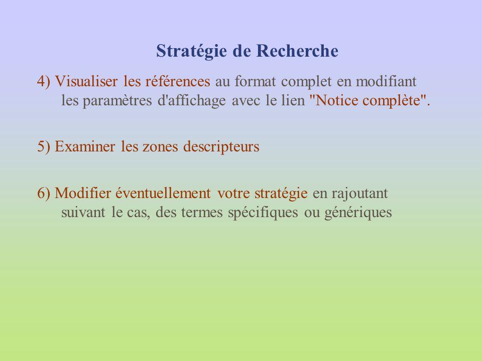 4) Visualiser les références au format complet en modifiant les paramètres d'affichage avec le lien